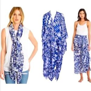 Michael Stars Blue & White Tie Dye 3 in 1 Wrap